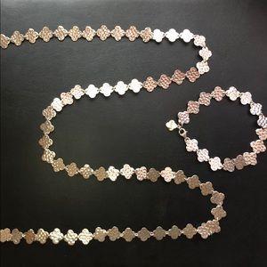 NWOT .925 Clover Necklace & Bracelet Set